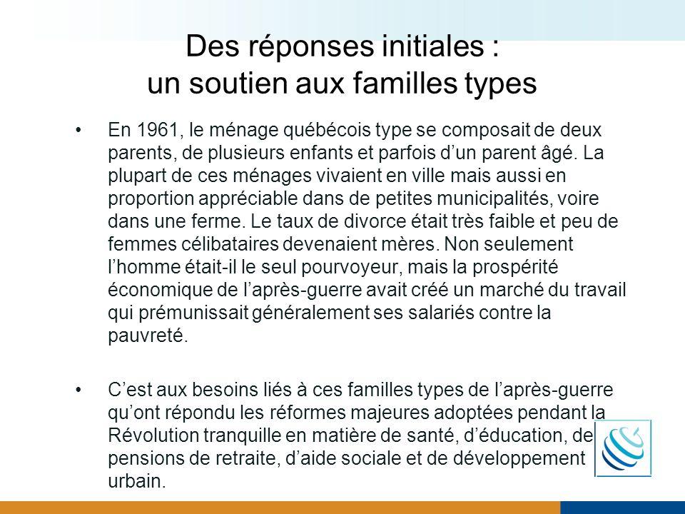 Des réponses initiales : un soutien aux familles types