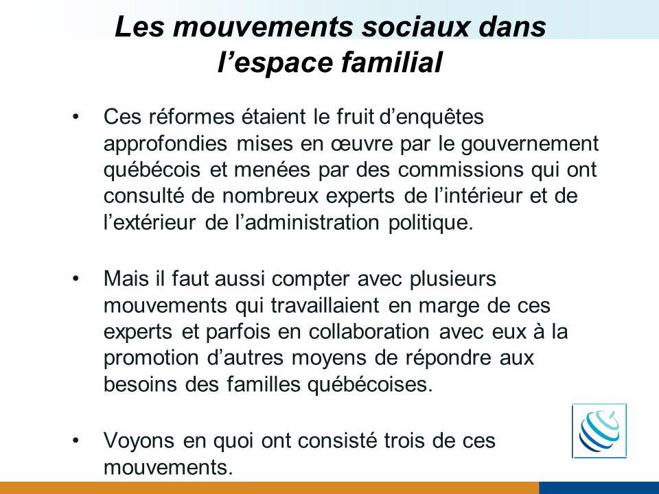 Les mouvements sociaux dans l'espace familial