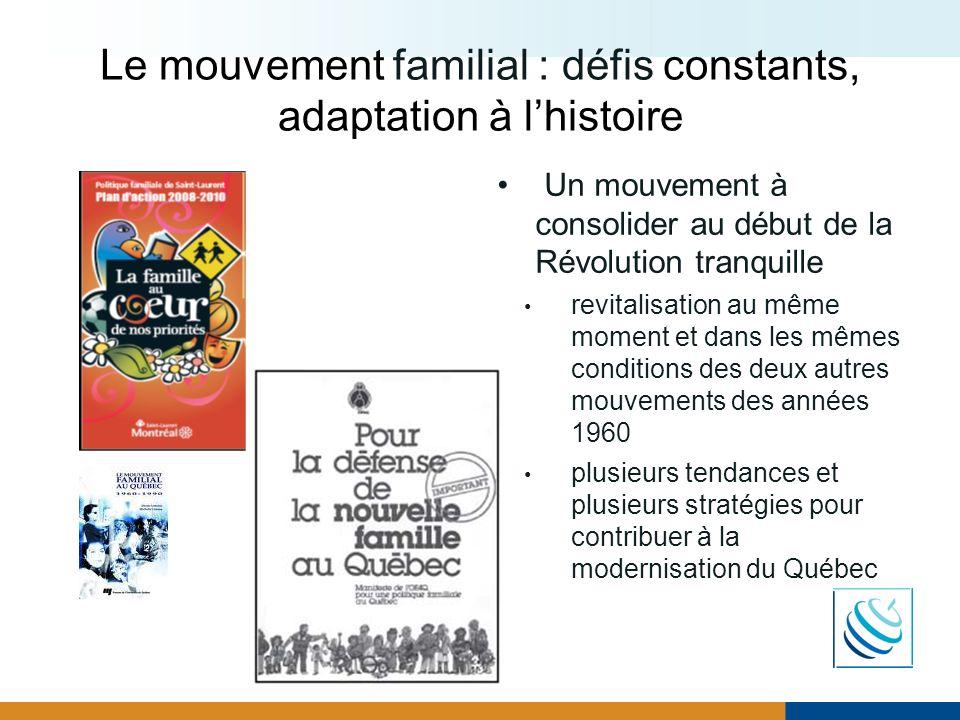 Le mouvement familial : défis constants, adaptation à l'histoire