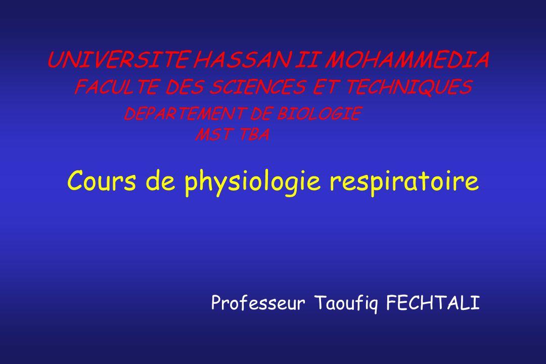 Cours de physiologie respiratoire