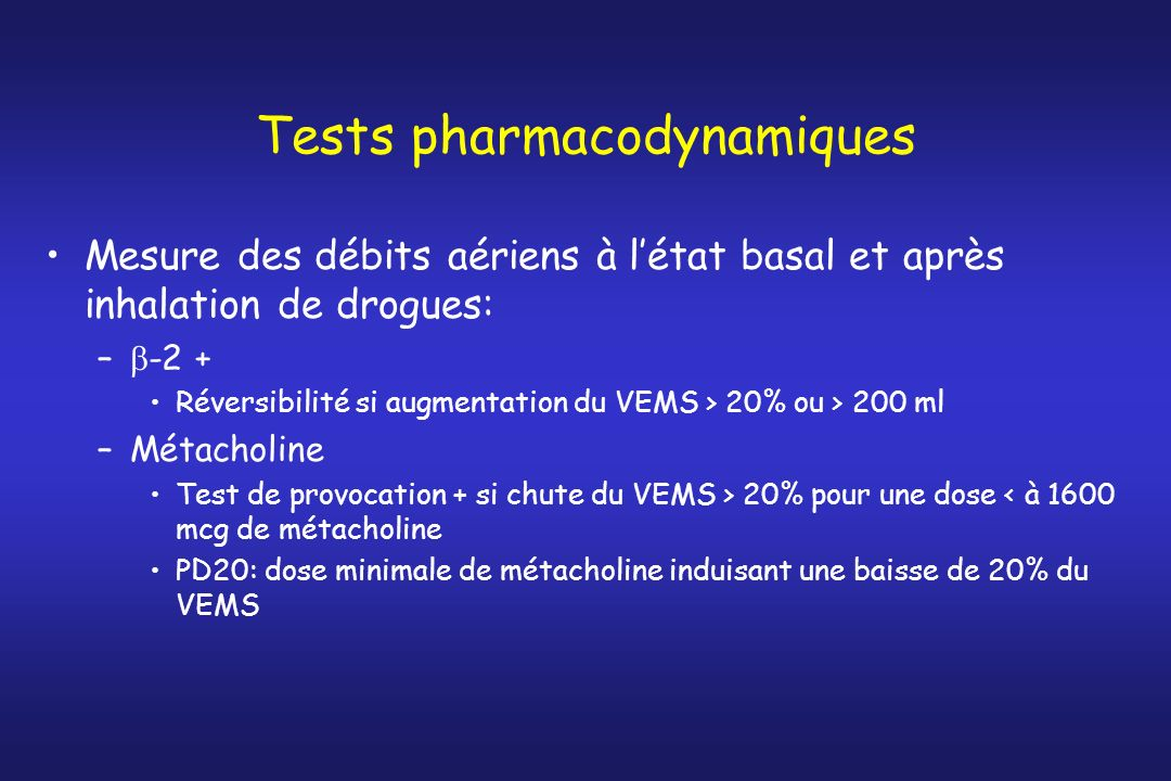 Tests pharmacodynamiques