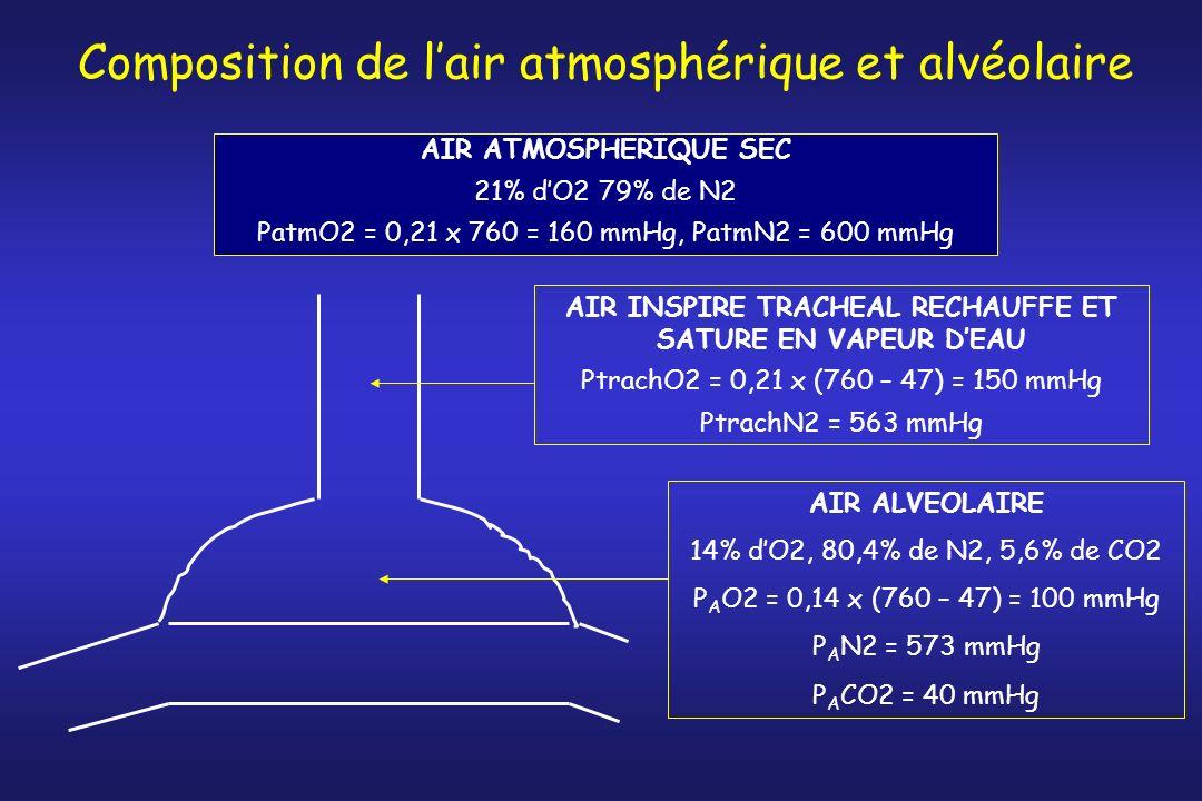 Composition de l'air atmosphérique et alvéolaire