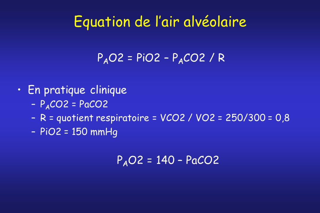 Equation de l'air alvéolaire