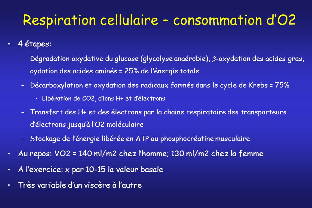 Respiration cellulaire – consommation d'O2
