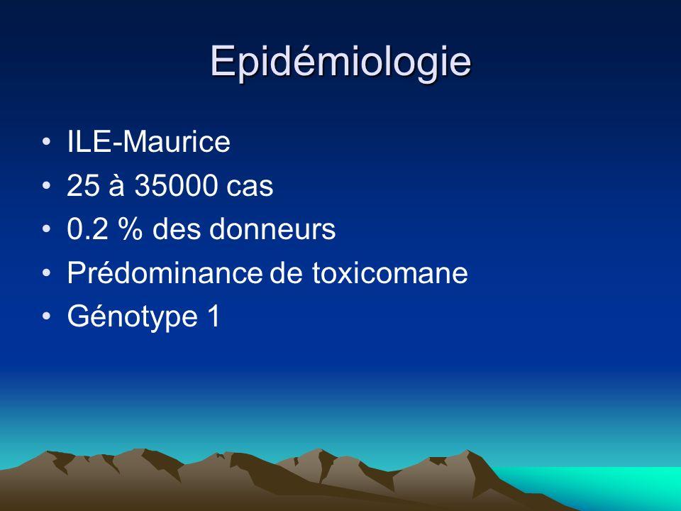 Epidémiologie ILE-Maurice 25 à 35000 cas 0.2 % des donneurs