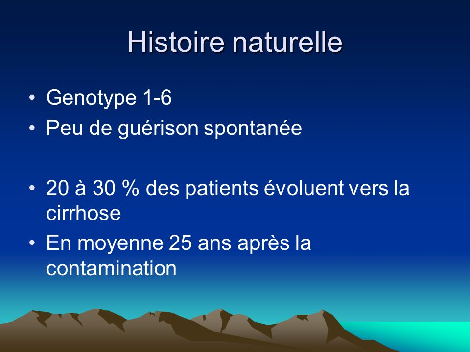 Histoire naturelle Genotype 1-6 Peu de guérison spontanée