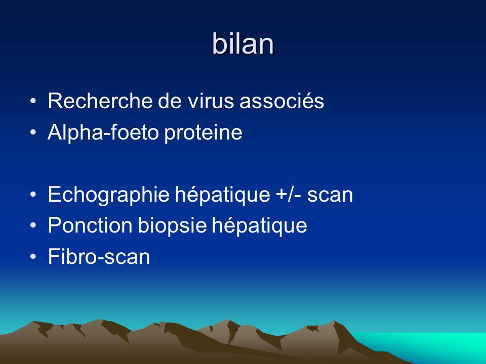 bilan Recherche de virus associés Alpha-foeto proteine