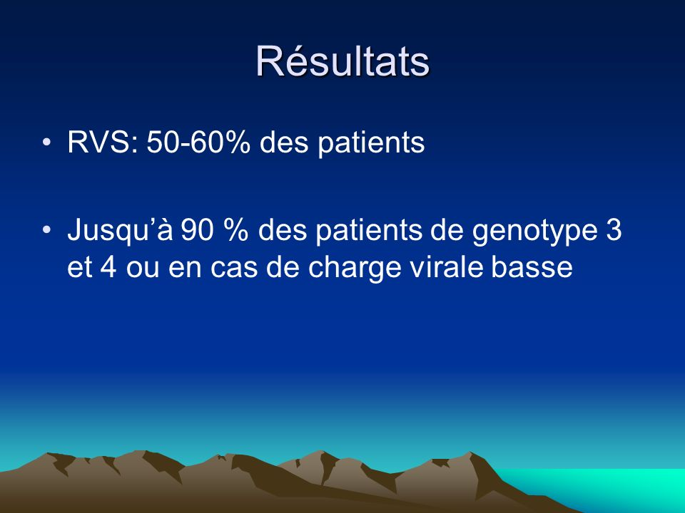 Résultats RVS: 50-60% des patients