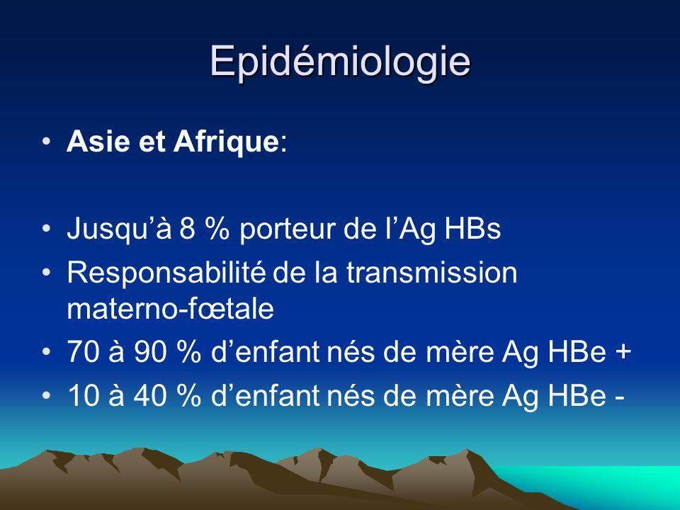 Epidémiologie Asie et Afrique: Jusqu'à 8 % porteur de l'Ag HBs
