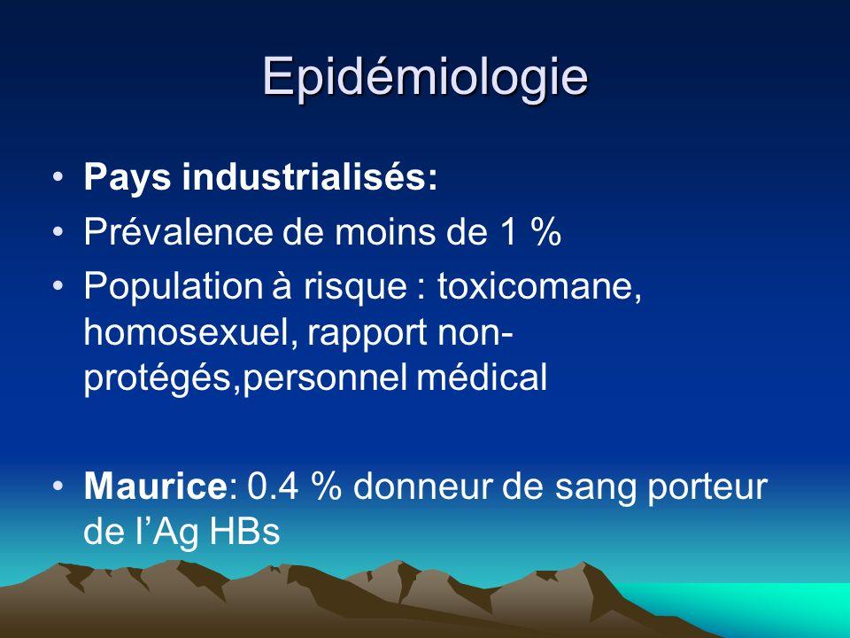 Epidémiologie Pays industrialisés: Prévalence de moins de 1 %