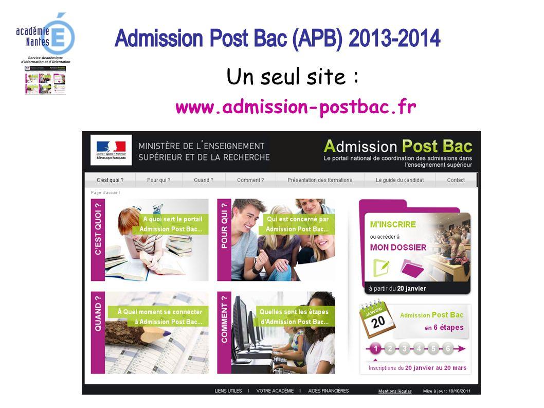 Un seul site : www.admission-postbac.fr