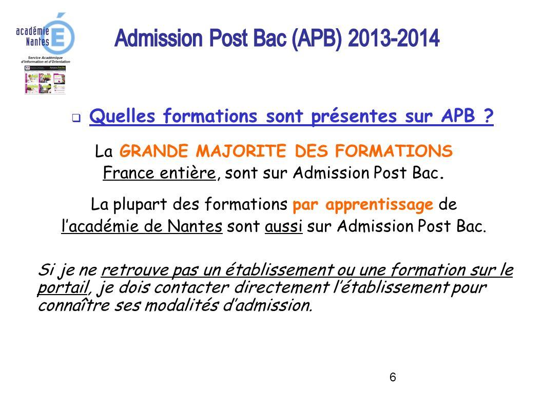 Quelles formations sont présentes sur APB
