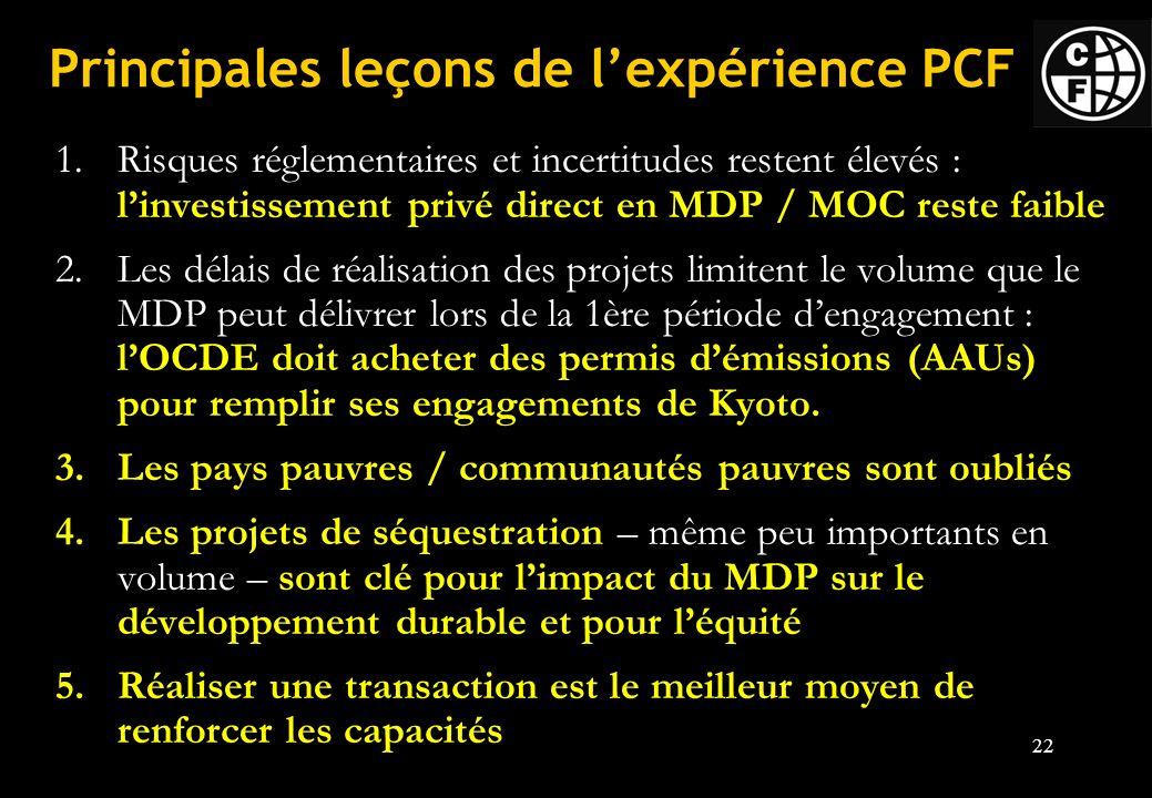 Principales leçons de l'expérience PCF