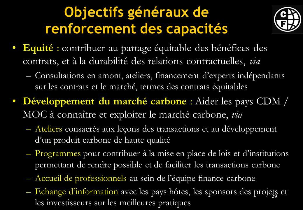 Objectifs généraux de renforcement des capacités