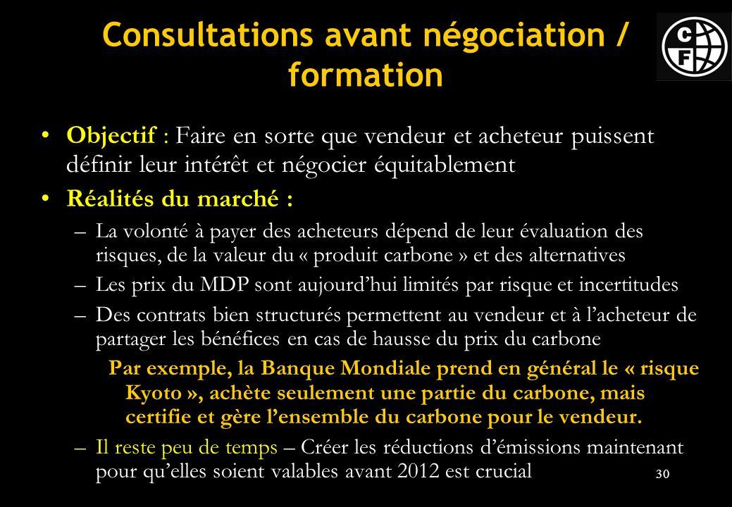 Consultations avant négociation / formation