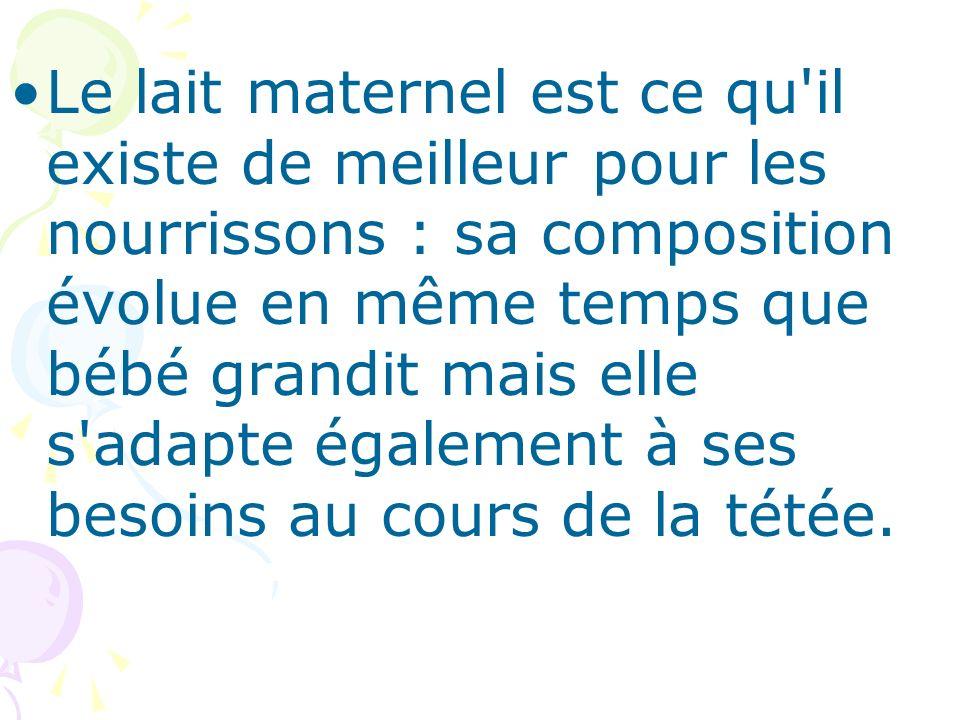 Le lait maternel est ce qu il existe de meilleur pour les nourrissons : sa composition évolue en même temps que bébé grandit mais elle s adapte également à ses besoins au cours de la tétée.