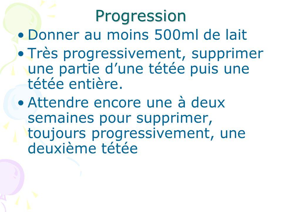 Progression Donner au moins 500ml de lait