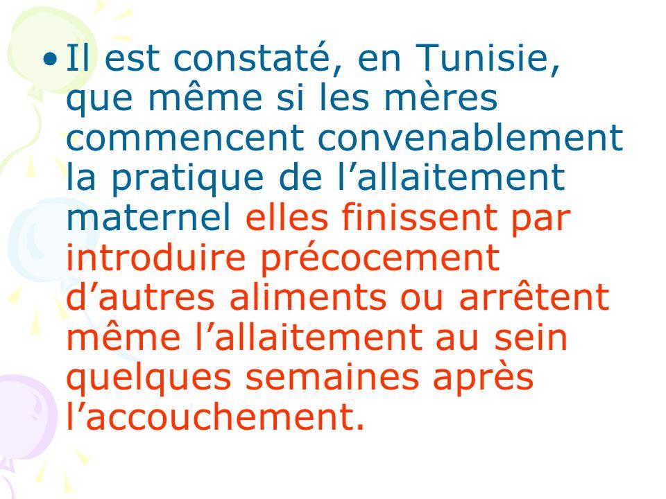 Il est constaté, en Tunisie, que même si les mères commencent convenablement la pratique de l'allaitement maternel elles finissent par introduire précocement d'autres aliments ou arrêtent même l'allaitement au sein quelques semaines après l'accouchement.