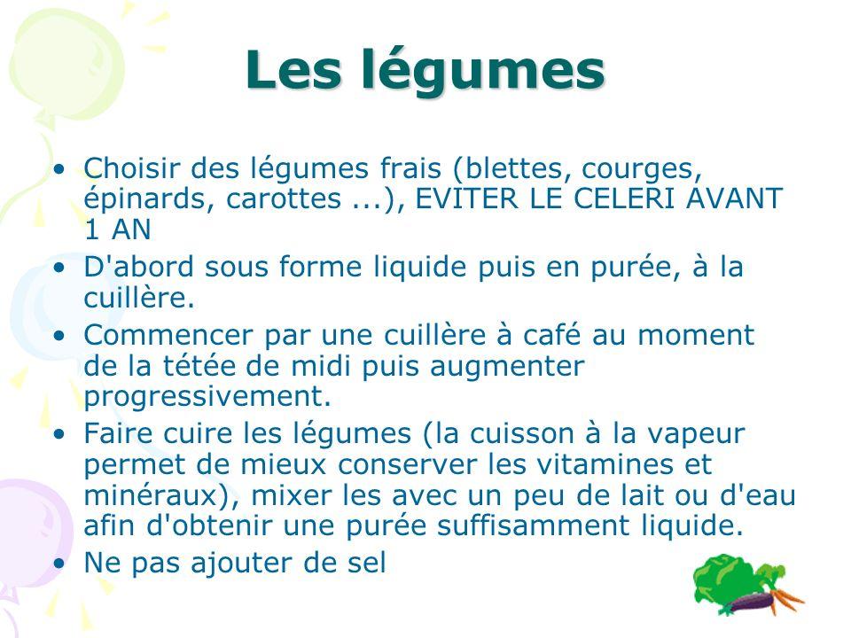 Les légumes Choisir des légumes frais (blettes, courges, épinards, carottes ...), EVITER LE CELERI AVANT 1 AN.