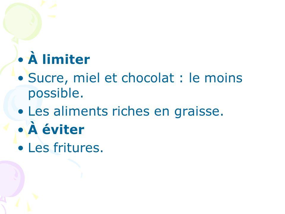 À limiter Sucre, miel et chocolat : le moins possible.