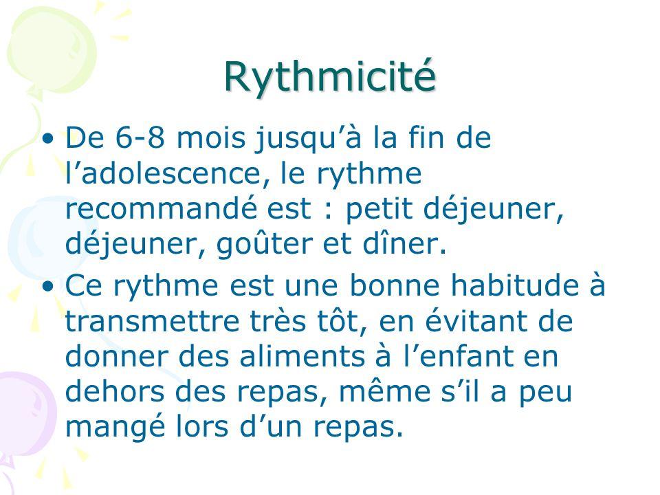 Rythmicité De 6-8 mois jusqu'à la fin de l'adolescence, le rythme recommandé est : petit déjeuner, déjeuner, goûter et dîner.