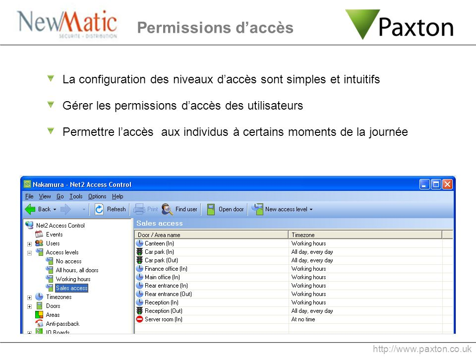 Permissions d'accès La configuration des niveaux d'accès sont simples et intuitifs. Gérer les permissions d'accès des utilisateurs.