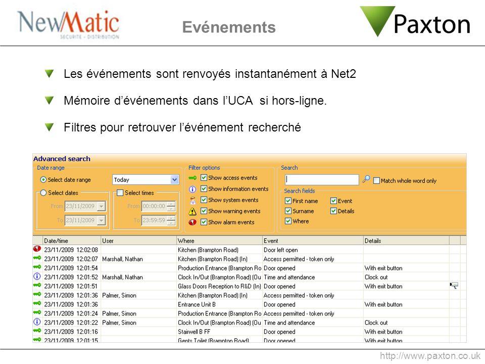 Evénements Les événements sont renvoyés instantanément à Net2