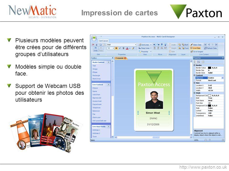 Impression de cartes Plusieurs modèles peuvent être crées pour de différents groupes d'utilisateurs.