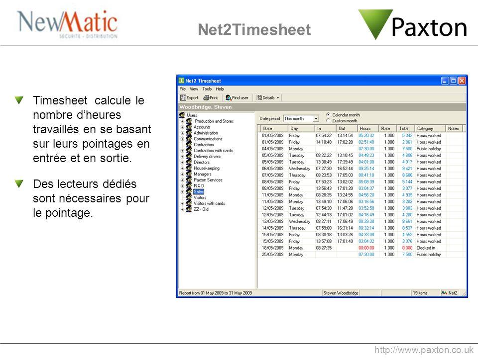 Net2Timesheet Timesheet calcule le nombre d'heures travaillés en se basant sur leurs pointages en entrée et en sortie.