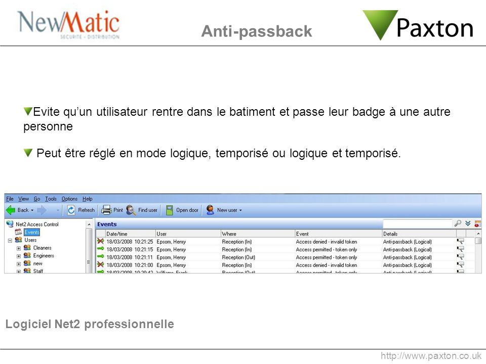 Anti-passback Evite qu'un utilisateur rentre dans le batiment et passe leur badge à une autre personne.