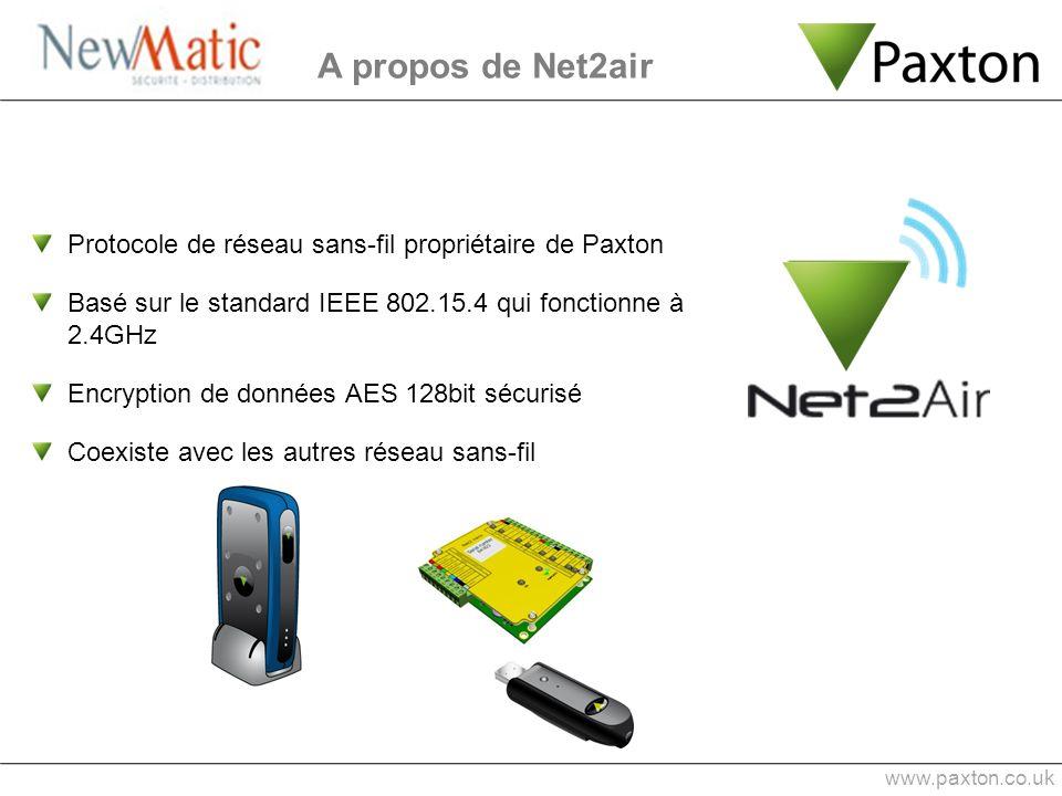 A propos de Net2air Protocole de réseau sans-fil propriétaire de Paxton. Basé sur le standard IEEE 802.15.4 qui fonctionne à 2.4GHz.