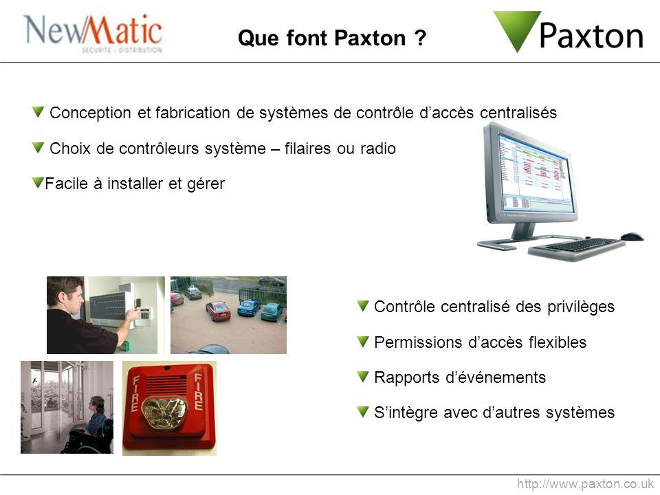 Que font Paxton Conception et fabrication de systèmes de contrôle d'accès centralisés. Choix de contrôleurs système – filaires ou radio.