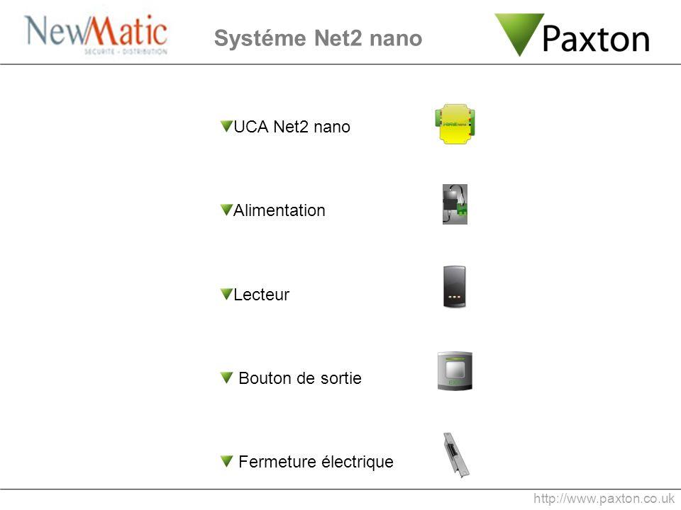 Systéme Net2 nano UCA Net2 nano Alimentation Lecteur Bouton de sortie