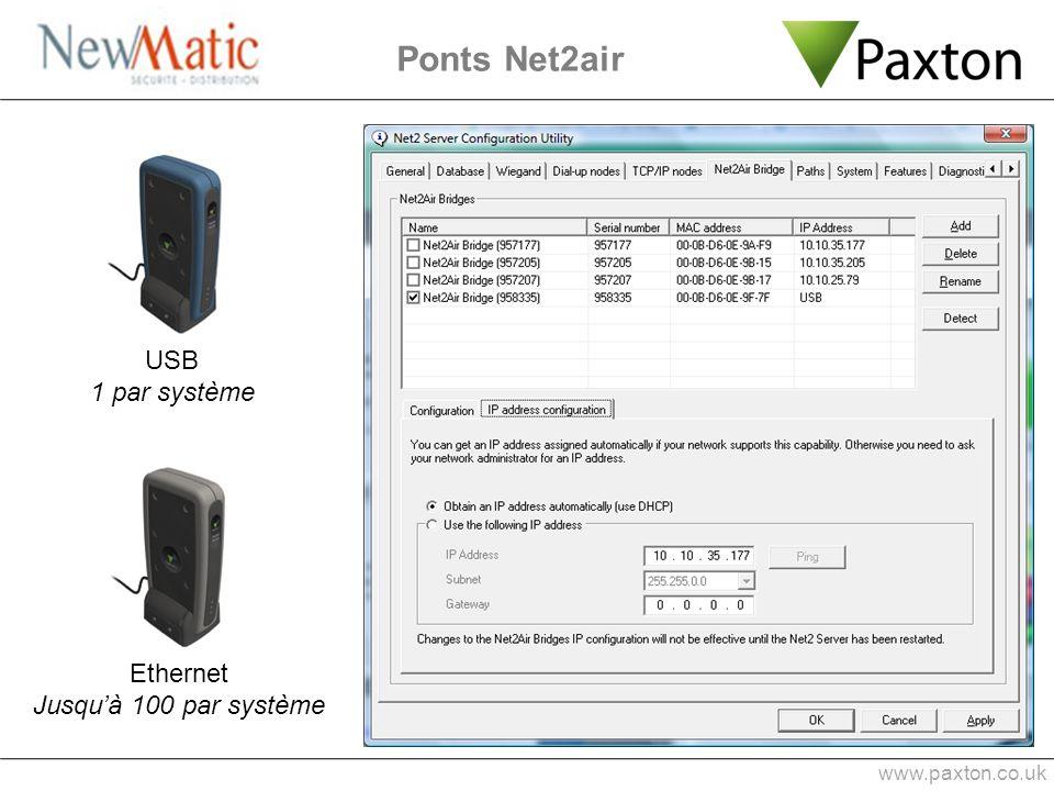 Ponts Net2air USB 1 par système Ethernet Jusqu'à 100 par système