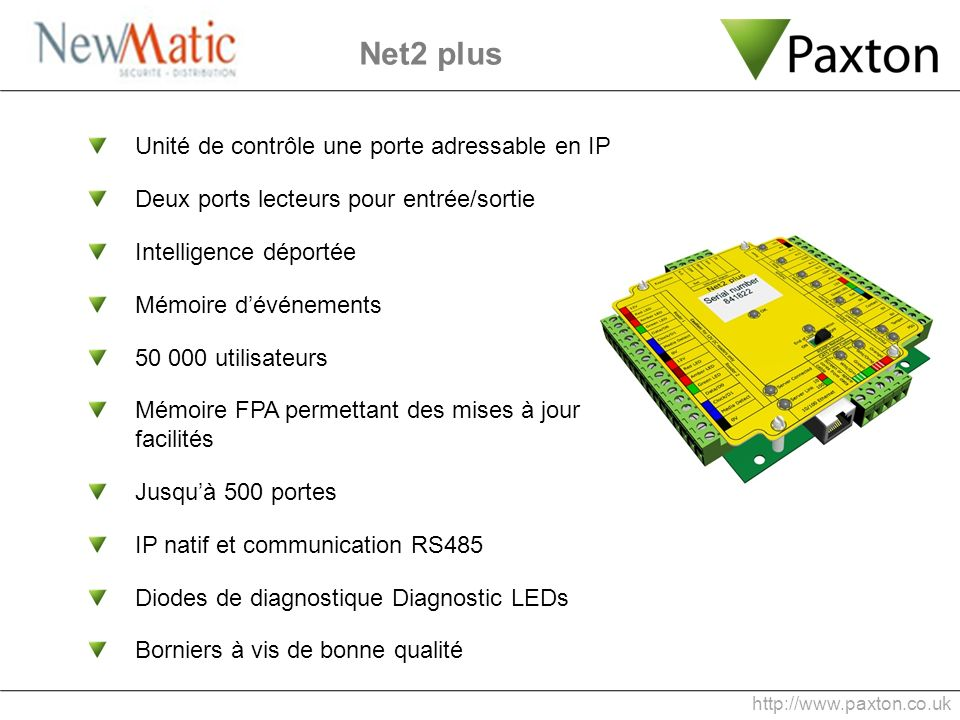 Net2 plus Unité de contrôle une porte adressable en IP