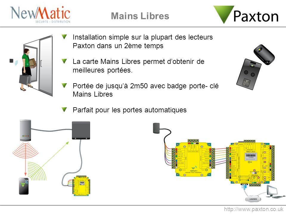 Mains Libres Installation simple sur la plupart des lecteurs Paxton dans un 2ème temps.