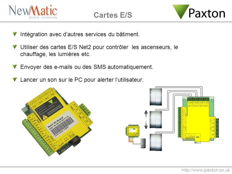 Cartes E/S Intégration avec d'autres services du bâtiment.