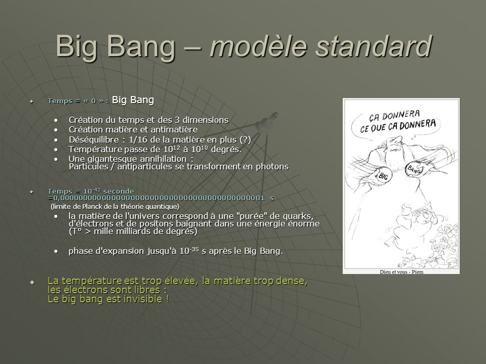 Big Bang – modèle standard