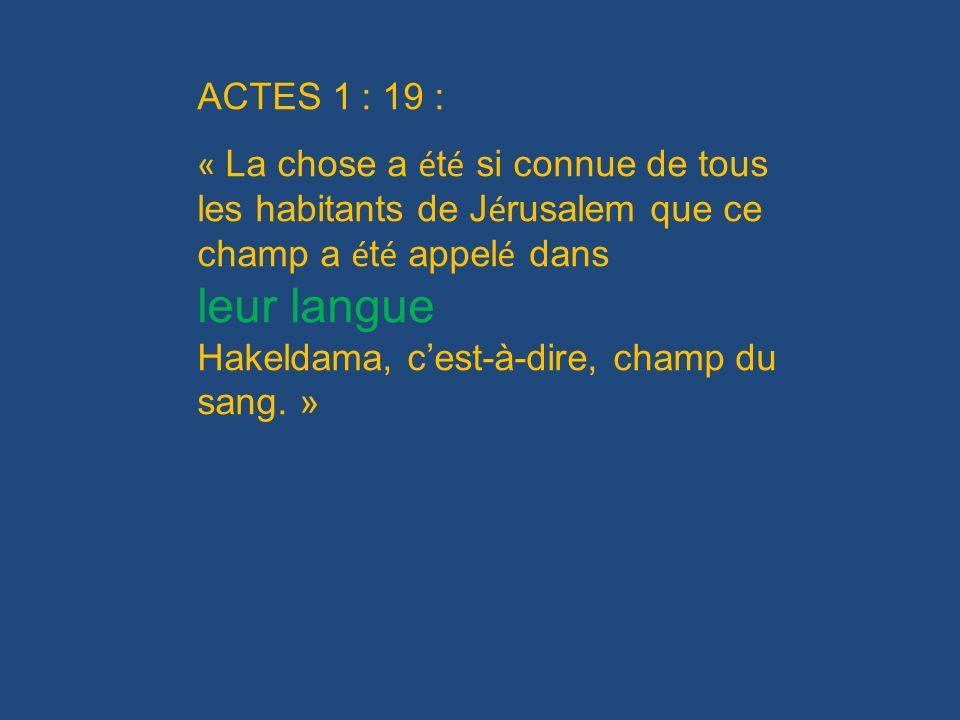 ACTES 1 : 19 : « La chose a été si connue de tous les habitants de Jérusalem que ce champ a été appelé dans.