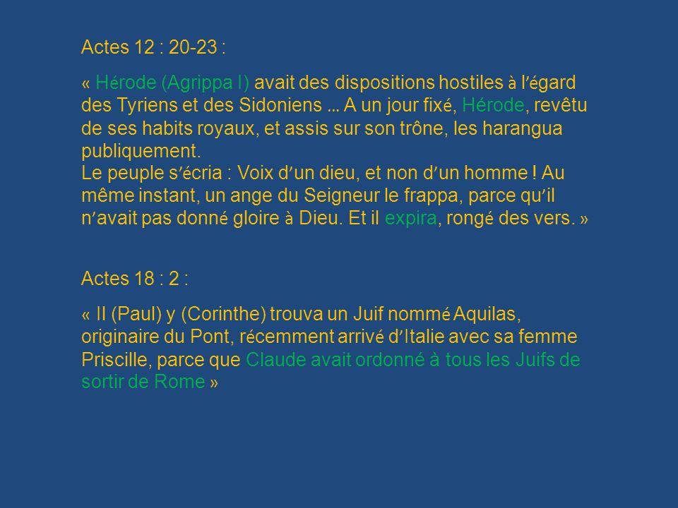 Actes 12 : 20-23 :