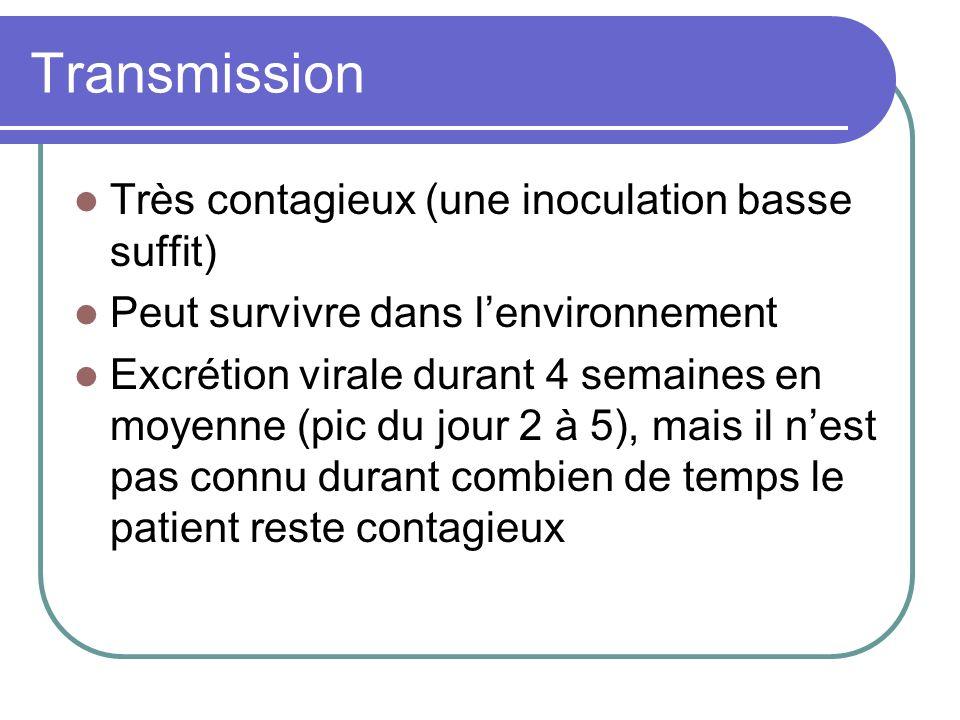 Transmission Très contagieux (une inoculation basse suffit)