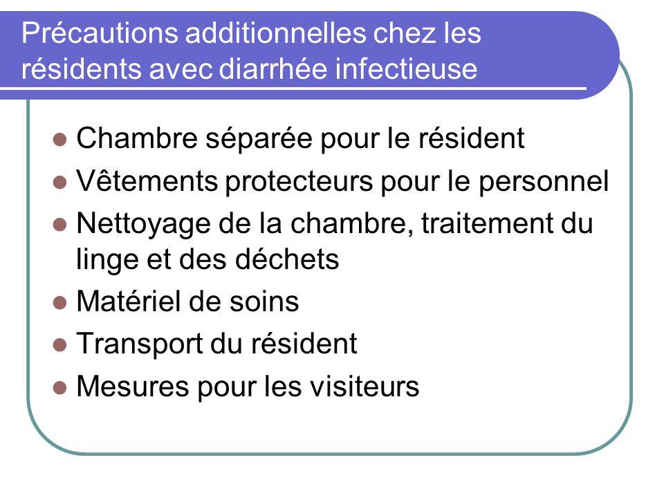 Précautions additionnelles chez les résidents avec diarrhée infectieuse