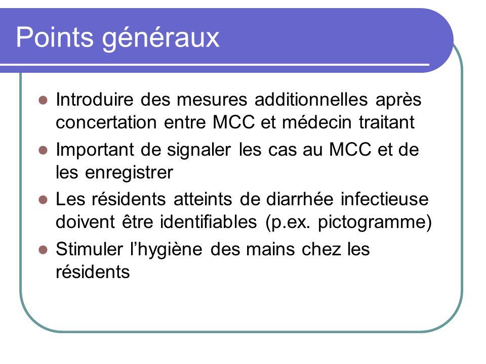 Points généraux Introduire des mesures additionnelles après concertation entre MCC et médecin traitant.
