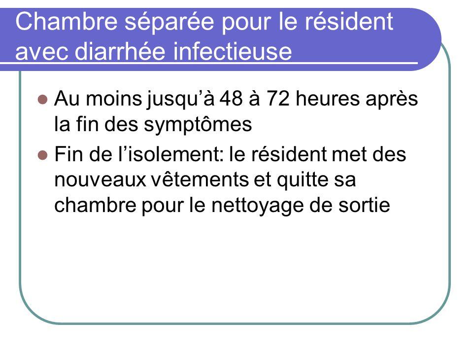 Chambre séparée pour le résident avec diarrhée infectieuse