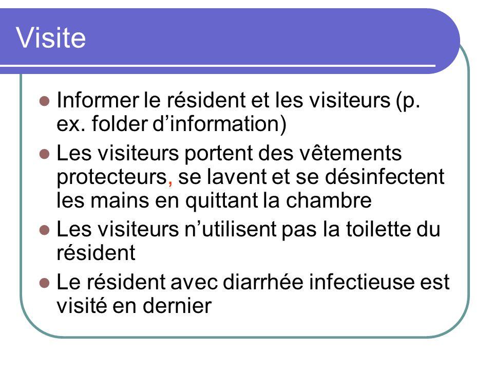 Visite Informer le résident et les visiteurs (p. ex. folder d'information)