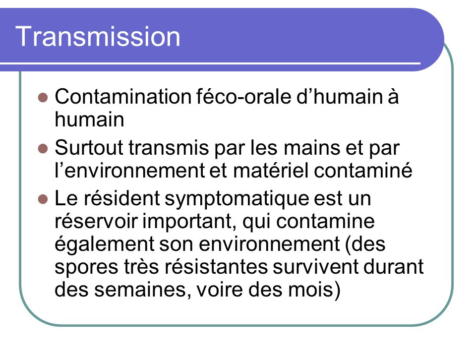 Transmission Contamination féco-orale d'humain à humain