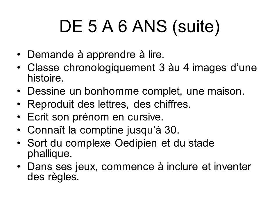 DE 5 A 6 ANS (suite) Demande à apprendre à lire.