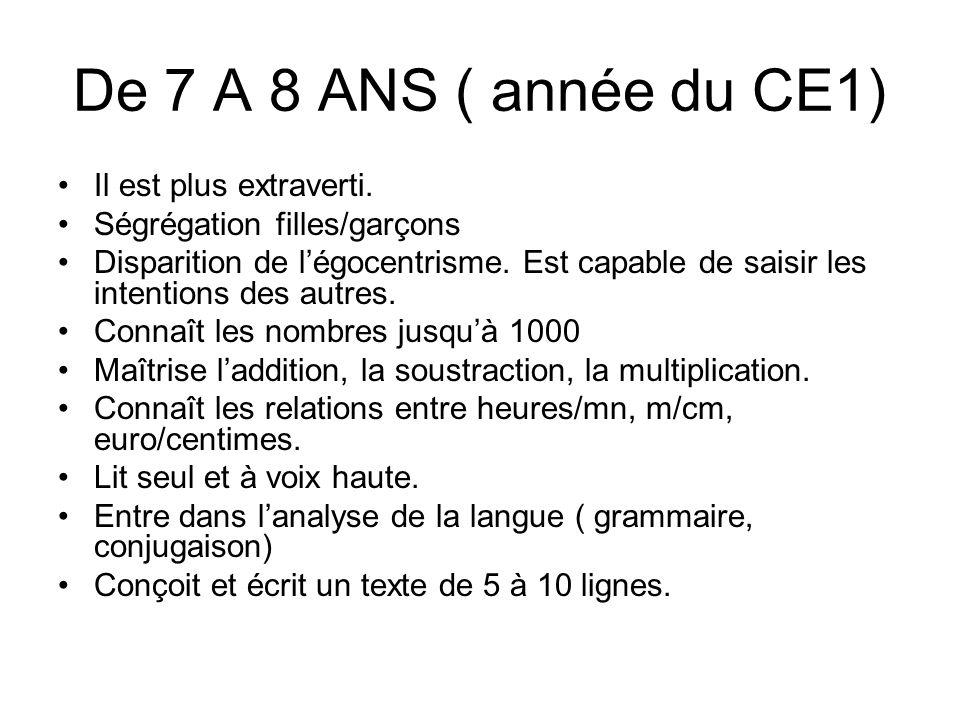 De 7 A 8 ANS ( année du CE1) Il est plus extraverti.