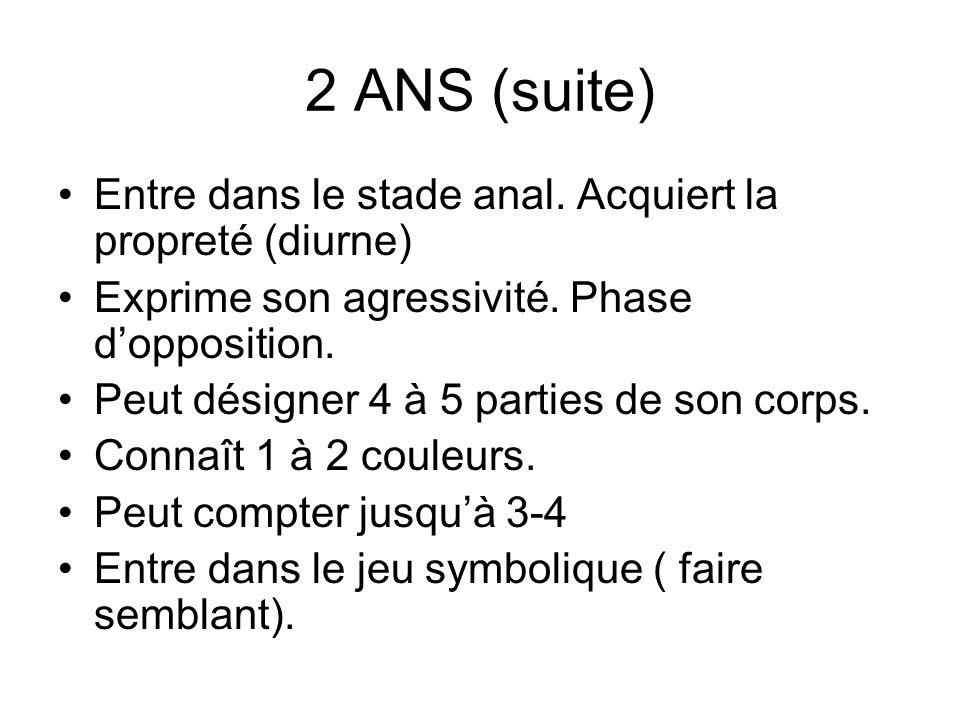 2 ANS (suite) Entre dans le stade anal. Acquiert la propreté (diurne)