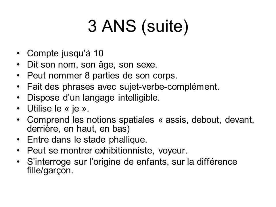 3 ANS (suite) Compte jusqu'à 10 Dit son nom, son âge, son sexe.